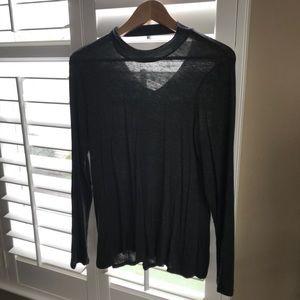 Choker shirt/open back long sleeve